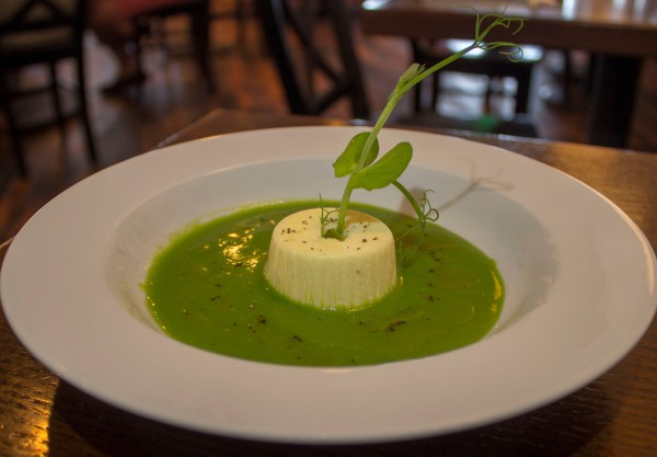 Parmesan Flan with Chilled Sweet Pea Soup