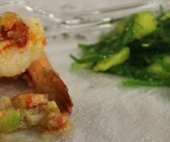 Lobster Stuffed Jumbo Prawn with Pineapple Seaweed Salad