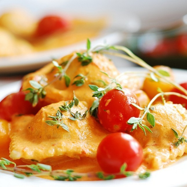 3 Cheese Ravioli with a Tomato Vinaigrette