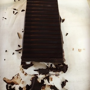 Dark Chocolate homemade from cacao butter, cacao powder, coconut sugar, vanilla & sea salt