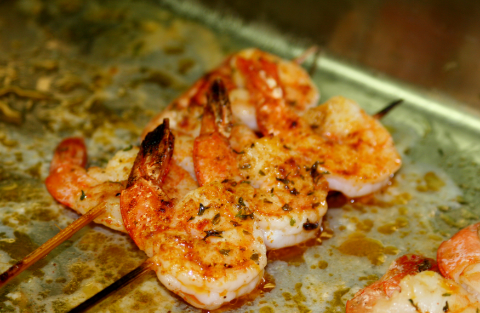 Jumbo Garlic Shrimp Skewer!